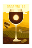 Napa Valley, California - Wine Glass and Vineyard Posters by  Lantern Press