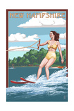 New Hampshire - Water Skier and Lake Prints by  Lantern Press