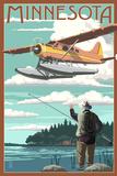 Minnesota - Float Plane and Fisherman Prints by  Lantern Press