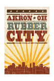 Akron, Ohio - Skyline and Sunburst Screenprint Style Print by  Lantern Press