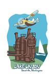 Seattle, Washington - Lake Union - Cartoon Icon Prints by  Lantern Press