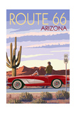 Arizona - Route 66 - Corvette with Red Rocks Plakater av  Lantern Press