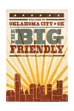 Oklahoma City, Oklahoma - Skyline and Sunburst Screenprint Style Prints by  Lantern Press