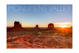 Monument Valley, Utah - Three Peeks and Sun Posters by  Lantern Press