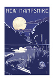 New Hampshire - Lake at Night Poster by  Lantern Press