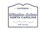 Winston-Salem, North Carolina - Now Entering (Blue) Poster by  Lantern Press