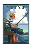 Tennessee - Boy Fishing Art by  Lantern Press