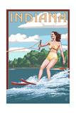 Indiana - Water Skier and Lake Prints by  Lantern Press