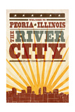Peoria, Illinois - Skyline and Sunburst Screenprint Style Prints by  Lantern Press