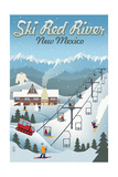 Red River, New Mexico - Retro Ski Resort Poster by  Lantern Press