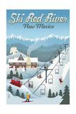 Red River, New Mexico - Retro Ski Resort Poster by  Lantern Press