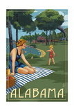 Alabama - Lake and Picnic Scene Art by  Lantern Press