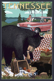Tennessee - Bear and Picnic Scene Prints by  Lantern Press