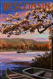 Wisconsin - Lake Sunset Scene Prints by  Lantern Press