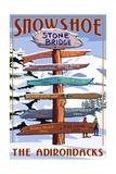 New York - the Adirondacks - Stone Bridge Snowshoe Signpost Print by  Lantern Press