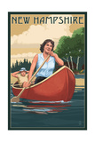 New Hampshire - Canoers on Lake Prints by  Lantern Press
