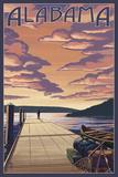 Alabama - Dock Scene and Lake Print by  Lantern Press