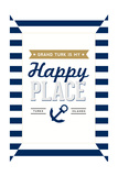 Grand Turk is my Happy Place - Stripes Art by  Lantern Press