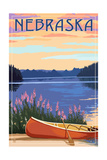Nebraska - Canoe and Lake Poster von  Lantern Press