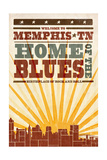 Memphis, Tennessee - Skyline and Sunburst Screenprint Style Posters by  Lantern Press