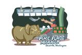 Seattle, Washington - Pike Place Market - Cartoon Icon Art by  Lantern Press