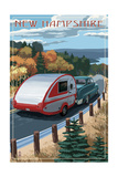 New Hampshire - Retro Camper on Road Art by  Lantern Press