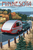 Minnesota - Retro Camper on Road Poster by  Lantern Press