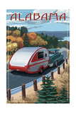 Alabama - Retro Camper on Road Prints by  Lantern Press