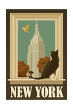 New York, New York - Empire State Buildin and Cat Window Prints by  Lantern Press
