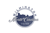 Wilmington, North Carolina - Skyline Seal (Blue) Prints by  Lantern Press