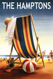 The Hamptons, New York - Beach Chair and Ball Prints by  Lantern Press