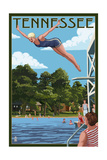 Tennessee - Woman Diving and Lake Poster by  Lantern Press