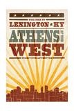 Lexington, Kentucky - Skyline and Sunburst Screenprint Style Art by  Lantern Press