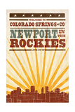 Colorado Springs, Colorado - Skyline and Sunburst Screenprint Style Posters by  Lantern Press