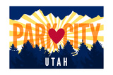 Park City, Utah - Heart and Treeline (Horizontal) - Lantern Press Artwork Prints by  Lantern Press