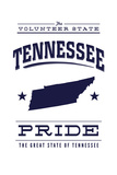 Tennessee State Pride - Blue on White Posters by  Lantern Press