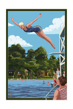 Woman Diving and Lake Posters by  Lantern Press