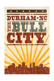Durham, North Carolina - Skyline and Sunburst Screenprint Style Prints by  Lantern Press