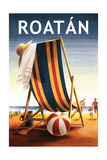 Roatan - Beach Chair and Ball Prints by  Lantern Press