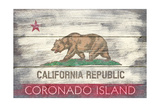 Coronado Island, California - Barnwood State Flag Posters by  Lantern Press