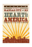 Kansas City, Kansas - Skyline and Sunburst Screenprint Style Prints by  Lantern Press