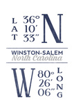 Winston-Salem, North Carolina - Latitude and Longitude (Blue) Posters by  Lantern Press