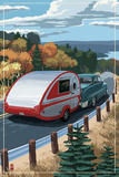 Retro Camper on Road Stampa giclée premium di  Lantern Press