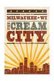 Milwaukee, Wisconsin - Skyline and Sunburst Screenprint Style Poster by  Lantern Press