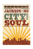 Jackson, Mississippi - Skyline and Sunburst Screenprint Style Art by  Lantern Press