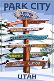 Park City, Utah - Ski Signpost Art by  Lantern Press