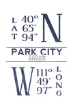Park City, Utah - Latitude and Longitude (Blue) Poster by  Lantern Press