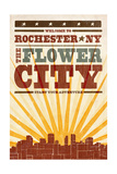Rochester, New York - Skyline and Sunburst Screenprint Style Posters by  Lantern Press