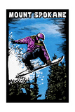 Mount Spokane, Washington - Scratchboard Snowboarder Prints by  Lantern Press
