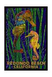 Redondo Beach, California - Seahorses - Paper Mosaic Prints by  Lantern Press